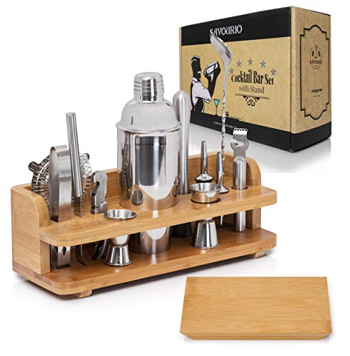 Savourio Bartender Kit Cocktail Shaker Bar Set - Complete 15-Piece Premium Quality Stainless Steel Utensils - Sleek & Elegant Design - Practical Wood Stand Included (Skinny Cocktails To Order At A Bar)