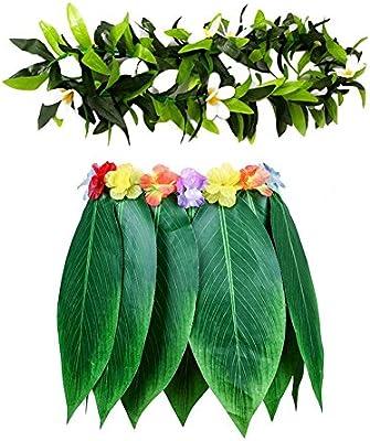 Falda hawaiana de hierba verde, falda con guirnalda y flores de ...