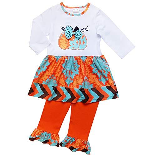 So Sydney Girls Halloween Pumpkin, Candy Cat - 2 Piece Ruffle Pants Outfit (XL (6), Pumpkin Chevron Blue & Brown)]()