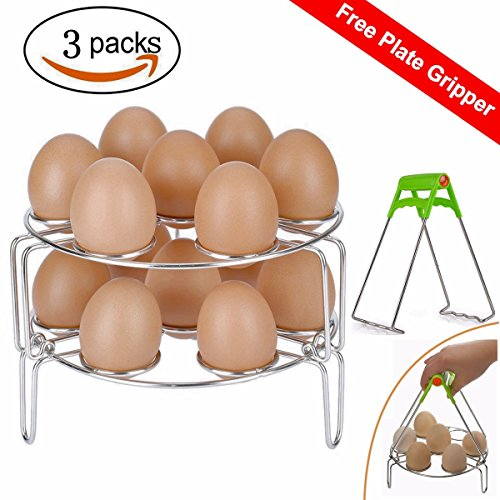2018 New Steamer Racks, Stainless Steel Stackable Egg Steaming Rack Stand for Instant Pot 6qt/8qt Food Steamer Basket Stand Cookware Accessories Set With Kitchen Plate Gripper-3Pack