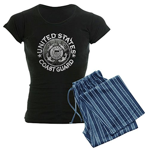 Royal Lion Women's Dark Pajamas US Coast Guard Semper Paratus Emblem - Blue Stripe, Medium