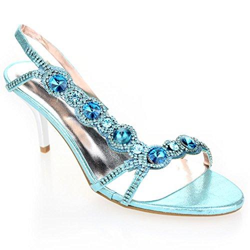 Aarz señoras de las mujeres de Banquete de boda noche de baile a medio talón de Diamante de la sandalia nupcial tamaño de los zapatos (Oro, Plata, Negro, Rojo, Azul) Azul