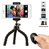 Iphone Tripod,SIX-QU Flexible Phone Stand Holder with Bluetooth Wireless Remote Shutter for Cellphone,Ipad ,Digital Camera&Gopro