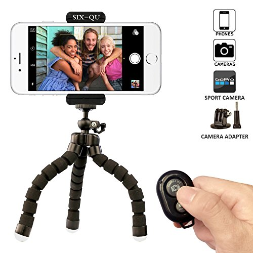 Iphone Tripod,SIX-QU Flexible Phone Stand Holder with Bluetooth Wireless Remote Shutter for Cellphone,Ipad ,Digital (Tripod For Iphone 6)