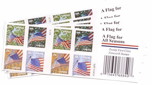 USPS Flags for All Seasons Forever Stamps 100 Stamps (5 Books of 20)