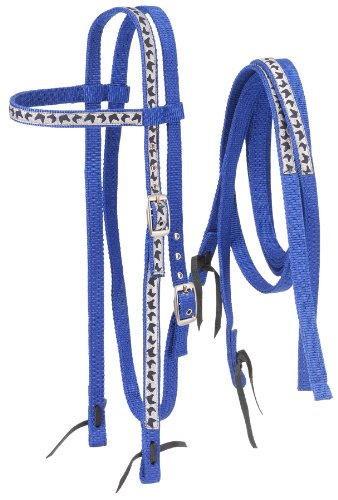 (Tough 1 Nylon Browband Headstalls and Reins with Printed Overlay, Royal Blue Horse Head)