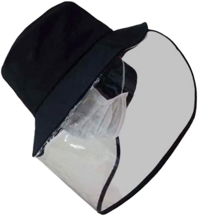 HEALLILY Clear Face Shield Anti Fog Splash Proof Face Cover Hat for Outdoor Protection Black