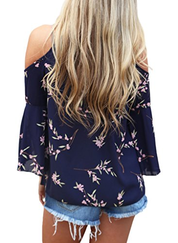 HOTAPEI Women's Floral Print Cut Out Shoulder 3 4 Sleeve Chiffon T Shirt Tops Blouse