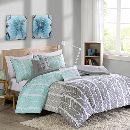 Intelligent Design Adel Comforter Set Full/Queen Size – Aqua, Light Grey, Grey, Geometric Chevron – 5 Piece Bed Sets – Ultra Soft Microfiber Teen Bedding for Girls Bedroom