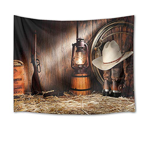 (HVEST Cowboy Tapestry Vintage Boots Lantern and Gun on Straw in Rustic Wood Barn Wall Hanging Blanket American Western Culture Tapestries for Bedroom Living Room Dorm Wall Decor,80Wx60H)