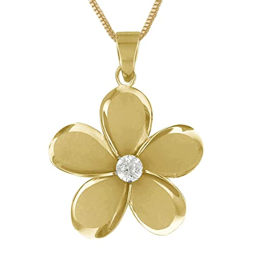 14kt Yellow Gold Plated Sterling Silver 27mm Plumeria Pendant Necklace, 16 2 Extender