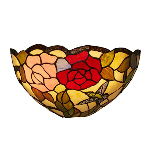 (It's Exciting Lighting IEL-9000 Rose and Leaves Tiffany Sconce, Battery Powered Wall Sconce With Stained Glass Shade With Rose And Leaves Design, No Electrical Outlet Required)