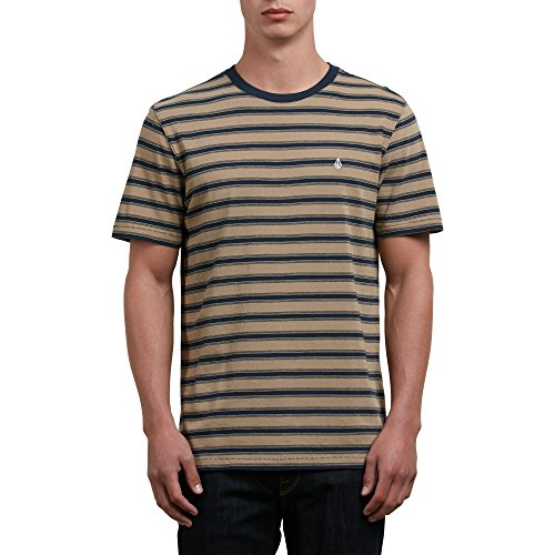 (Volcom Men's Briggs Crew Short Sleeve Striped Knit Shirt, Sand Brown XS)