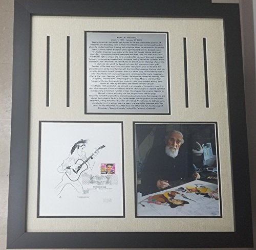 """Caricaturist"" Al Hirschfeld Signed Elvis Presley Sheet Framed JG Autographs from Unknown"