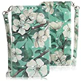 WIWJ Compatible with Huawei P30 Case,3D Embossed Lanyard Flip PU Leather Case with Card Holder for Girls Kickstand Ultra Slim Fit Protective Shockproof Case Cover for Huawei P30-Green Leaf Flower