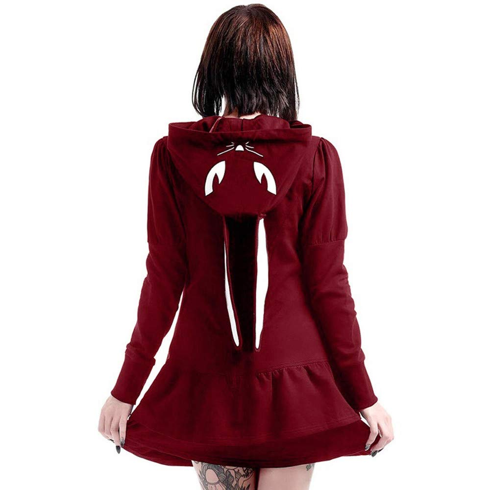 Sttech1 Women Ladies Vintage Long Sleeve Hooded Bunny Cosplay Jacket Gothic Outwear Party Dress