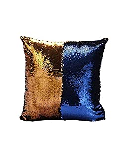 Vinayaka Fab Reversible Sequin Polyester Cushion Cover (16X16-inch, Blue and Gold)