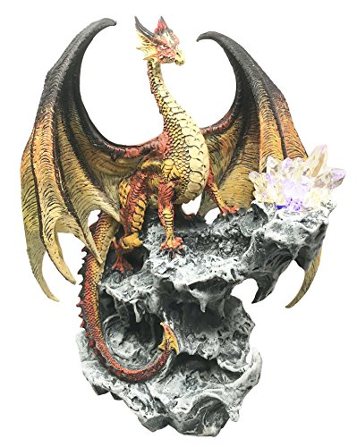Elemental Hyperion Solar Beam Dragon Guarding LED Light Sun Crystal Cave Statue Figurine by Ebros Gift