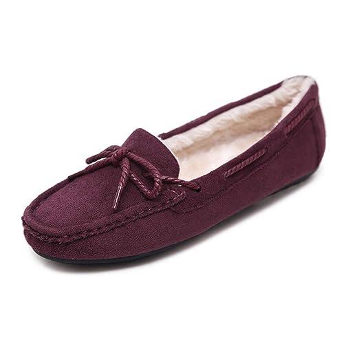 Estudiante Mam Zapatos Planos para Mujer ResbalóN En Pisos Mocasines Suaves Nudo Casual Invierno CáLido Mocasines De TacóN Bajo: Amazon.es: Zapatos y ...