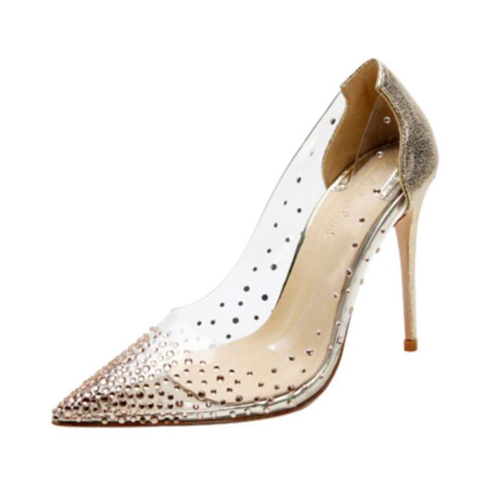 gold 4.72inches Milugold Women Pointed Toe Transparent Rhinestones High Heels Party Wedding Pumps