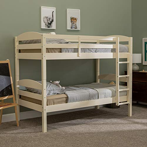 WE Furniture Wood Twin Bunk Kids Bed Bedroom with Guard Rail and Ladder Easy Assembly, White