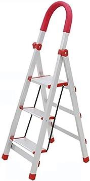 Gjrff Escalera plegable de 3/4 peldaños, taburete de aluminio ...