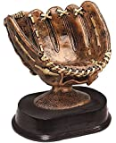 Bronze Colored Baseball Glove Ball Holder with Brown Finish Resin Base