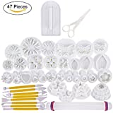 47 pcs Fondant Cutters Tools Catalina Fondant Molds Cake Decorating Tool Set with Rolling Pin Smoother Embosser Moulds
