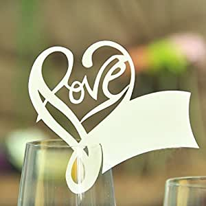 Tarjetas ColorMax de decoración para centros de mesa, para bodas, corazón cortado a láser y nombre, paquete de 50