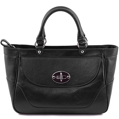 Tuscany Leather TL NeoClassic Bolso a mano en piel para mujer Rojo Negro