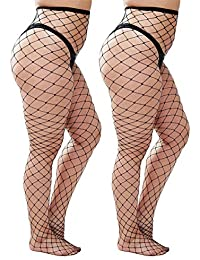 01cda6780fc6b Womem's Sexy Black Fishnet Tights Plus Size Net Pantyhose Stockings