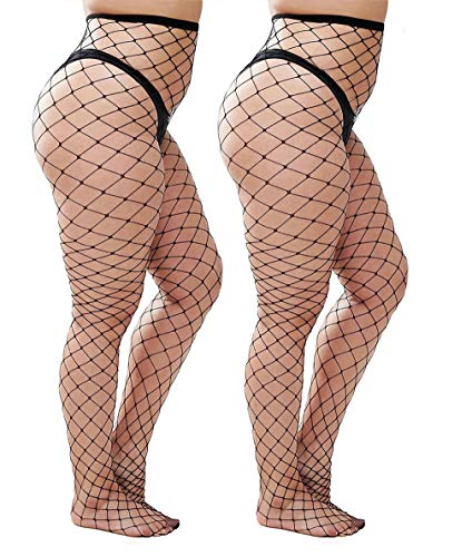 Womem's Sexy Black Fishnet Tights Plus Size Net Pantyhose Stockings (Black #2, Plus -