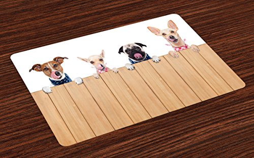 Lunarable Dog Lover Place Mats Set of 4, Row of Dogs Hungry and Tonge Sticking Out a Wall of Wood Licking Lunch Time, Washable Fabric Placemats for Dining Room Kitchen Table Decor, Sand Brown White