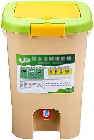 El compost papelera de reciclaje compostador de compost aireado Bin orgánico hecho en casa bote de basura del cubo del jardín de cocina Comida Casera Papeleras 21L (tamaño : 28.5*28.5*42cm) :