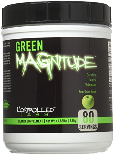Controlled Labs Green Magnitude, Creatine Matrix Volumizer, 80 Serving, Sour Green Apple, 29.28 Ounce, Pack of 1