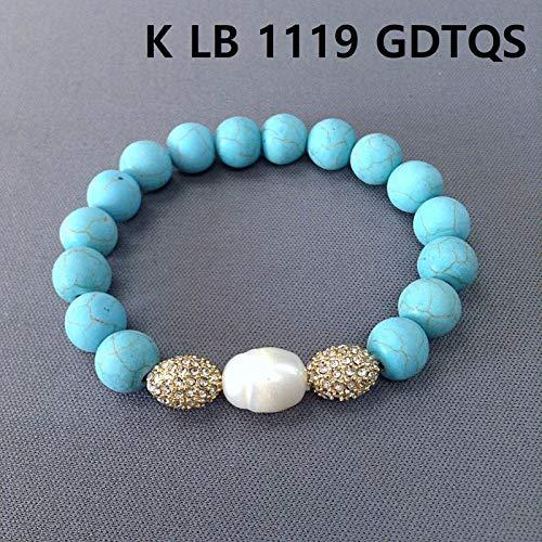 (Turquoise Stones Oval Shape Pearl Gold Clear Rhinestones Beads Bangle Bracelet LL-7110)