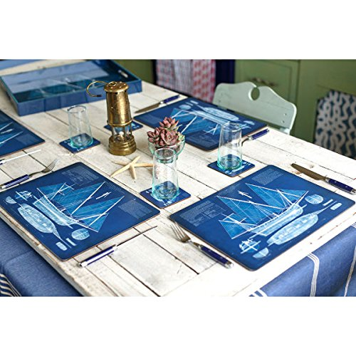 Placemats Table Mats Cork Backed Hard Placemats Wipe Clean Nautical Beach 12'' x 16'' Set of 4 by RockPaperFlowers (Image #3)