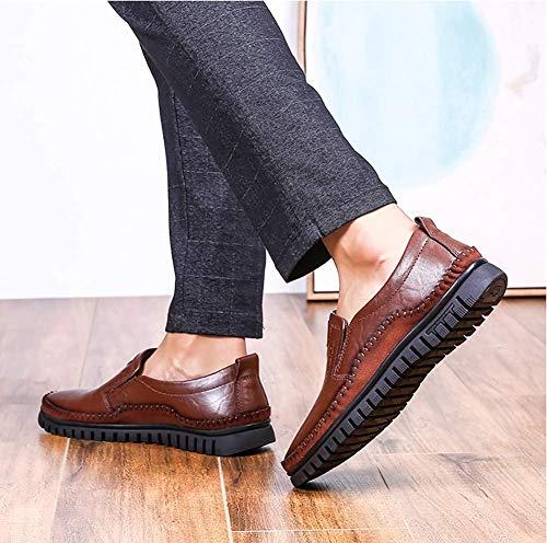 para de resbalón Negocios Hombres tamaño HhGold los US Hombres Informal 5 de Negro Vestido Cuero Mocasines 8 del 9 Color del Unido cómodos Reino los 5 Marrón de Zapatos Wwc6qvwZz