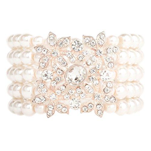 (Zking Art Deco Bracelet Gatsby 5 Rows Fashion Faux Pearl Elastic Bangle 20s Flapper Accessories Jewelry)