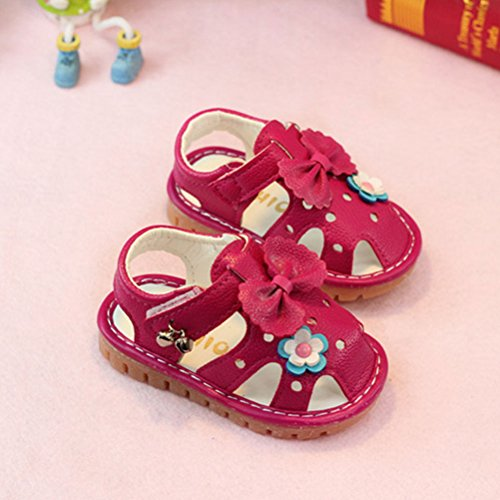 Zhhlinyuan Fashion Soft-Soled Bow tie Shoes Toddler Sandals Rose Red