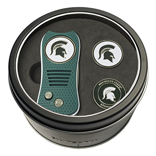 Team Golf NCAA Michigan State Spartans Gift Set Switchblade Divot Tool with 3 Double-Sided Magnetic Ball Markers, Patented Single Prong Design, Causes Less Damage to Greens, Switchblade Mechanism ()