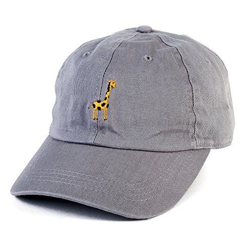 All Star Cotton Cap (Giraffe Embroidered Hat Adjustable Animal Baseball Cap Vintage Cap (Gray))