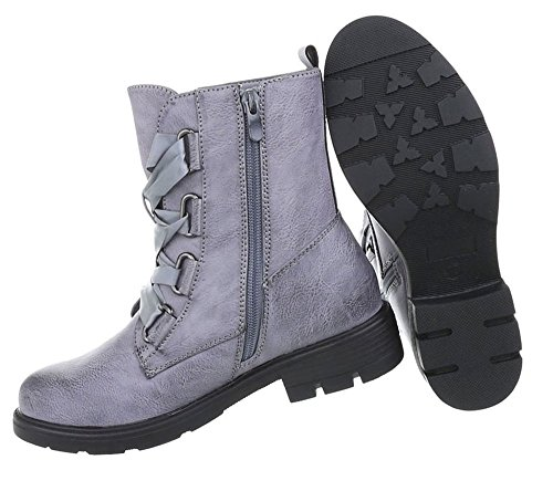 Damen Schuhe Stiefeletten Used Optik Boots Blau