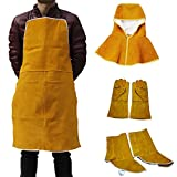 Jili Online Cowhide Leather Welder Apron Welding Protective Gear Hood Gloves Shoes Cover Clothing