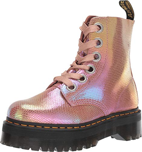 Dr. Martens Women's Molly 8 Eye Boots, Pink Iridescent, 6 M US