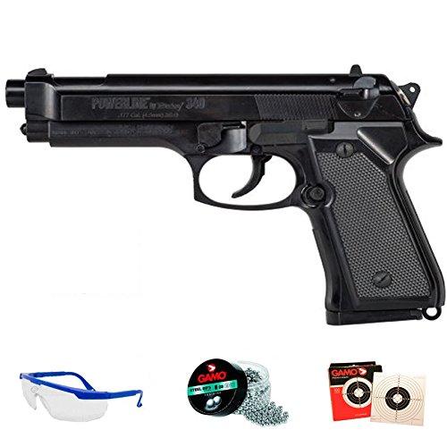DAISY Pack 340 Powerline - Pistola de Aire comprimido (Muelle) de balines/perdigones BBS de Acero 4.5mm | Réplica Beretta 92 5 Julios