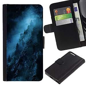 EJOY---La carpeta del tirón la caja de cuero de alta calidad de la PU Caso protector / Apple Iphone 6 PLUS 5.5 / --Noche Azul Negro misterioso oscuro