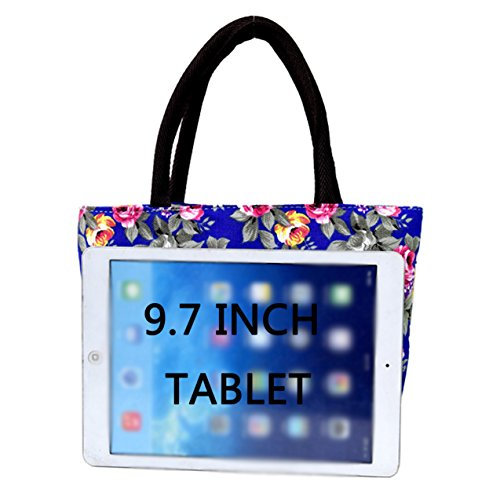 stylish hand durable bright Blue for Canvas Skyflying grandma mom coloured Peony flower bag fwpOf