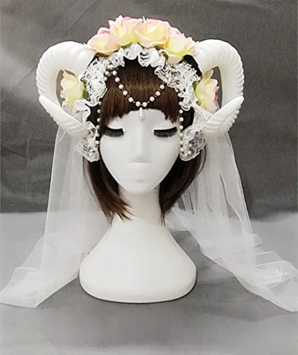 Qhome White Rose Gauze Sheep Horn Hoop Headband Forest Animal Photography Original Manual Aries Exhibition Cosplay Photo Props Deluxe Costume Horns (Rose+Horn+Pearl)