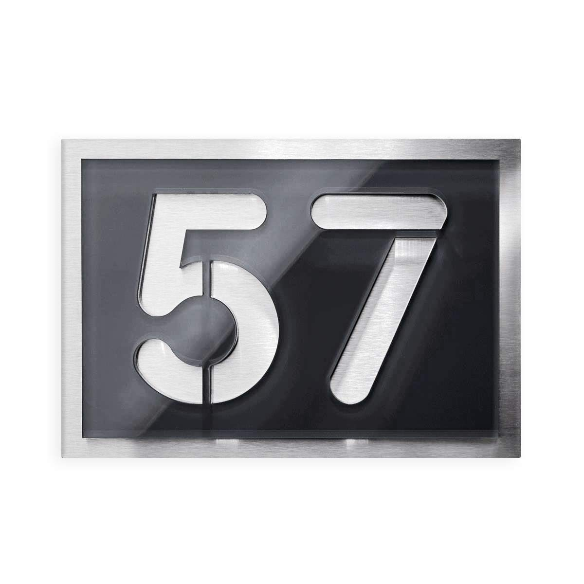 Metzler-Trade Hausnummer zweistellig - aus Edelstahl und Hochglanz Acrylglas in Anthrazit RAL 7016 -Grö ß e: 21, 5 x 15 cm - Montagematerial im Lieferumfang enthalten.